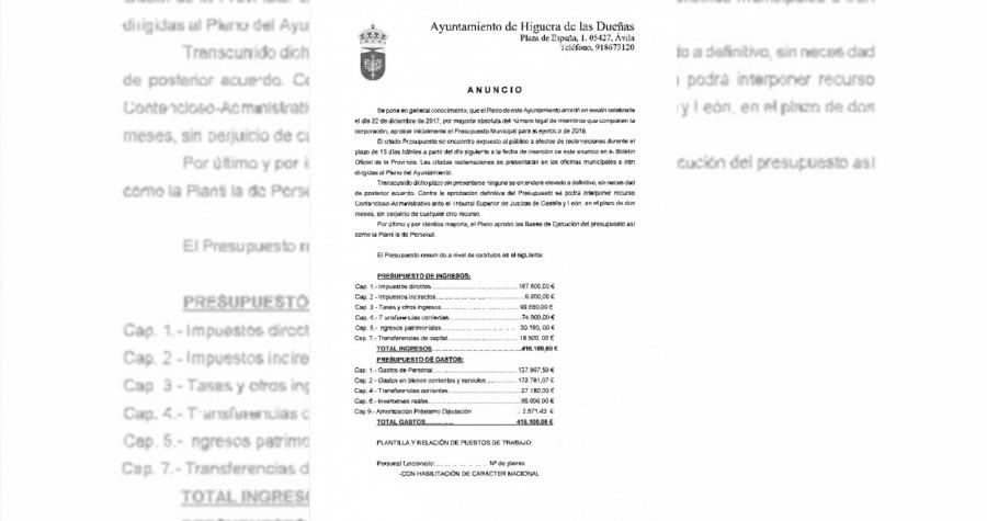 Anuncio presupuesto 2018