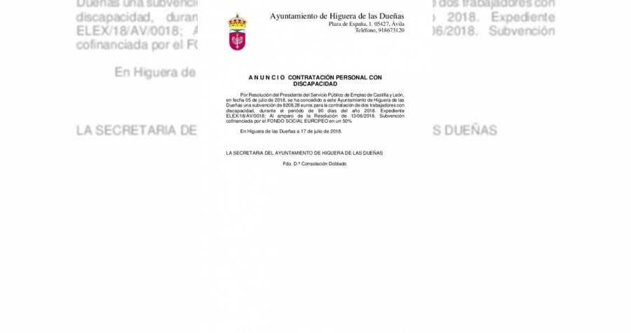 Anuncio subvencion discapacidad 2018